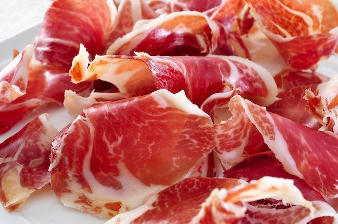 closeup of a plate with spanish serrano ham